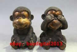 Chinese Pure Bronze Copper Home Feng Shui Lovely Four Monkey Monkeys Statue Set