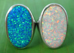 Big Cr. Opal 925 Sterling Silver 18mmx28mm White,blue Rings 7.75 To 9.75 Women