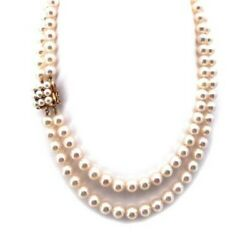 Necklace Double Thread From 16 17/32in Of Pearls Japanese - 7-0 5/16in And 7.5-0 5