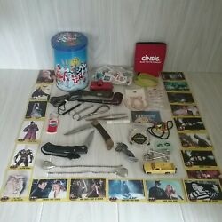 Vintage Junk Drawer Lot Knives Stamps Batman Cards Toys Jewelry Much More