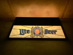 Vtg Miller Lite Beer Pool Table Light Faux Wood Trim Stained Glass Local Pick Up