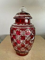 Antique Bohemian Polished Cut Ruby Glass Ginger Jar With Lid