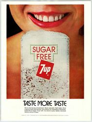 Womanand039s Smile 7up Sugar Feee Soda Vintage 1970and039s 8 X 10.75 Magazine Ad M94