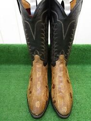 Vintage Tony Lama Boa Constrictor Snake And039rare Exotic Western Boots 10.5 D