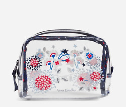 New Nwt Vera Bradley Red White And Blossoms Clear Beach Cosmetic Makeup Bag Pouch