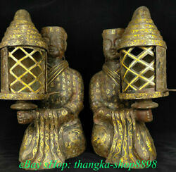 24 Old China Bronze Ware Dynasty Gilded Bronze People Figurine With A Lamp