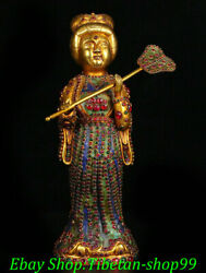 13 Old China Dynasty Bronze 24 K Gold Gems Palace Maidservant Maid Fan Statue