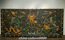 36.6 Old China Wood Lacquerware Painting 9 Dragon Play Beads Box Boxes Statue