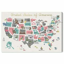 Maps And Flags Wall Art Canvas Prints And039fun Pastel Mapand039 American Countries Maps