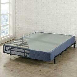 9 High Profile With Heavy Duty Steel Slat Mattress Foundation Fits Queen Navy