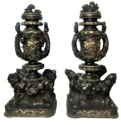 Meiji Period Pair Of Japanese Patinated And Gilt Bronze Lidded Vases Xix Century