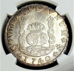 Mexico Philip V 8 Reales 1740 Mo-mf Unc Details Obverse Cleaned Ngc.