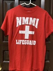 Nmmi New Mexico Military Institute Medium- Lifeguard T- Shirt Red Preowned