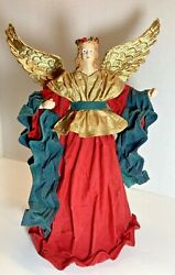 Paper Mache Starched Robe Vintage Christmas Angel Red Gold Decoration 12 Inch