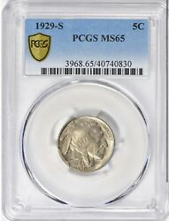 1929 S Buffalo Nickel 5 Cents Indian Coin United States Full Horn Pcgs Ms65