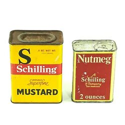 Vtg Mccormick Schilling Spice Tins 4oz Mustard And 2oz Nutmeg Full Can Lot Of 2