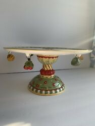 Mary Engelbreit Cake Stand Cherries Jubilee With Miniature Charms