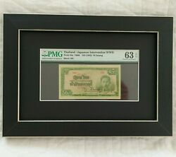 1942 Thailand 50 Satang Pmg Ms63 Epq Rare Japanese Framed And Matted Removable