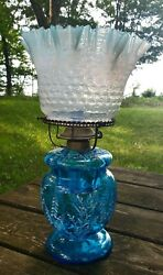 Antique 19th C Oil Lamp Cobalt Enameled And Opalescent