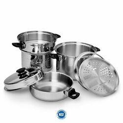 Amway Icook™ 6-piece 8 L/8-quart Dutch Oven Pasta Staemer Grater Dome Lid New