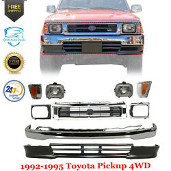 Front Bumper + Grille Chrome + Valance + Lights For 1992-1995 Toyota Pickup 4wd