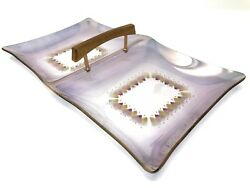 Sinclair Glama Glass Tray With Wood Handle Mcm 13 X7 Gold Purple Mid Century