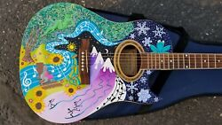 Hand Painted Guitar By Matilda Wentzel. Art And Music Fine Collectable Decorations