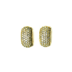 Vintage Christian Dior Gold Plated Clear Rhinestone Clip Earrings
