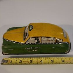 1940's Courtland Tin Wind Up Checker Cab Taxi. Good Condition