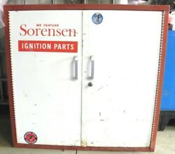 Vintage Sorenson Parts Cabinet With Key Gas Or Service Station Display Used
