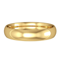 Jewelco London 18ct Yellow Gold 4mm Court-shaped Wedding Band Commitment Ring