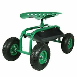 Rolling Garden Cart With 360 Degree Swivel Seat And Tray Green