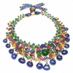 Handmade Beaded Colourful Emerald Sapphire Carved 925 Sterling Silver Necklace