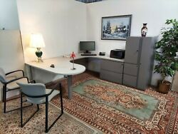 Executive Kimball Office U Shaped Suite With Wardrobe And File Cabinets