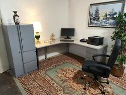 Executive Kimball Office Corner L Desk With Wardrobe And File Storage