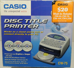 Casio Cw-75 Cd Dvd Disc Title Printer Keyboard Label Writer Excellent In Box