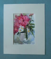 Bouganvilla With Daisies - Original Watercolor Painting By Patricia Kness