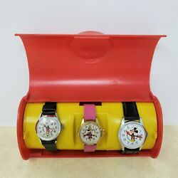 As-is Lot 3 Mickey And Minnie Mouse Vintage Bradley Watches And Case 23, 47, 62