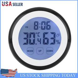 Indoor Black Round Touch Screen Digital Alarm Clock Thermometer Hygrometer