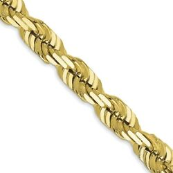 Real 10k Yellow Gold 5.5mm Diamond-cut Rope Chain 24 Inch Lobster Clasp