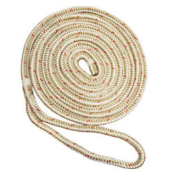 New England Ropes 3/4x35and039 Nylon Double Braid Dock Line White/gold W/tracer