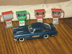 Motorific Ideal Battery Operated Car 1960s Toy Austin Healy blue Esso gas pumps
