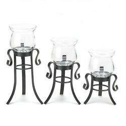 NEW Accent Decor CANDLE STAND Set of Three Home Staging Pieces Ambient Lighting