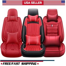 5 Seat Universal Car Seat Cover Deluxe Leather Full Set Front Rear Back Cushion