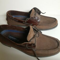 Mens 12m Sperrys Top Sider Brown Leather Shoes Tub E