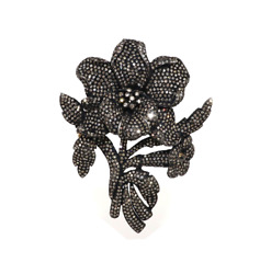 Victorian Beautiful Flower Pendant Cum Brooch Set With Diamonds In Silver And Gold