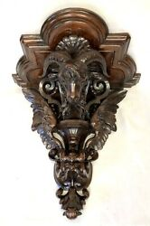 Antique Carved Black Forest Rams Head And Eagle Winges Wall Bracket Sconce