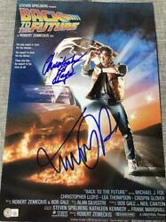 Michael J Fox Christopher Lloyd Back To The Future Signed 12x18 Poster Bas A