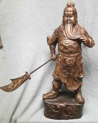 Chinese Gilded Cast Bronze Statue Of Guan Yu Warrior God Officer 30 Tall