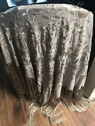 Vintage Antique Silver Grey Taupe Floral Pattern Embroidered Piano Shawl